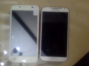 Nexa N4 on the LEFT. Note the screen area compared to the S4