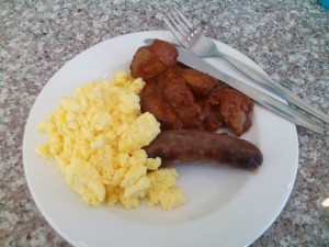 Scrambled Egg, Beef Sausage, Chicken Livers